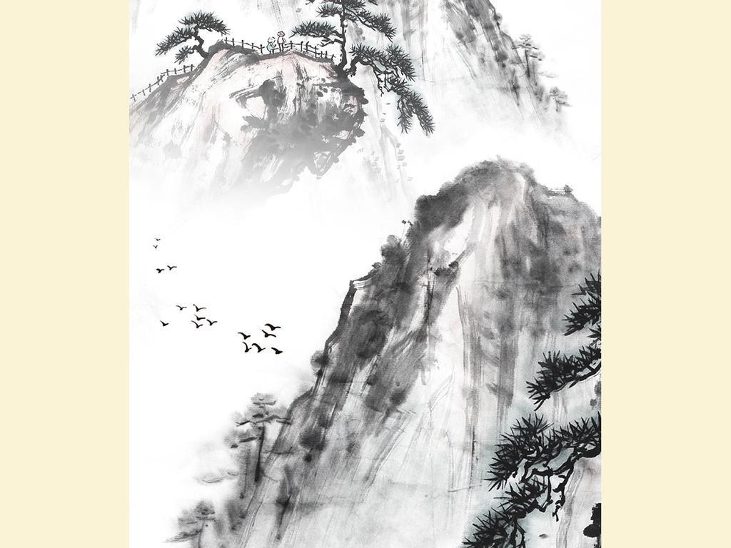 新中式水墨山水画玄关背景墙装饰画图片