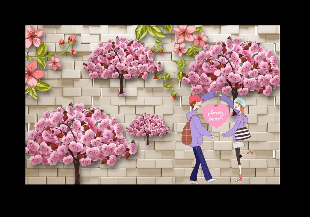 浪漫爱情相约牡丹花树下的情侣背景墙