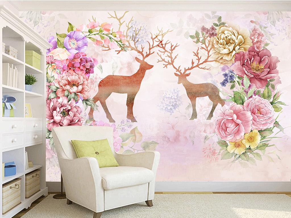 复古美式田园麋鹿电视沙发卧室背景墙图片