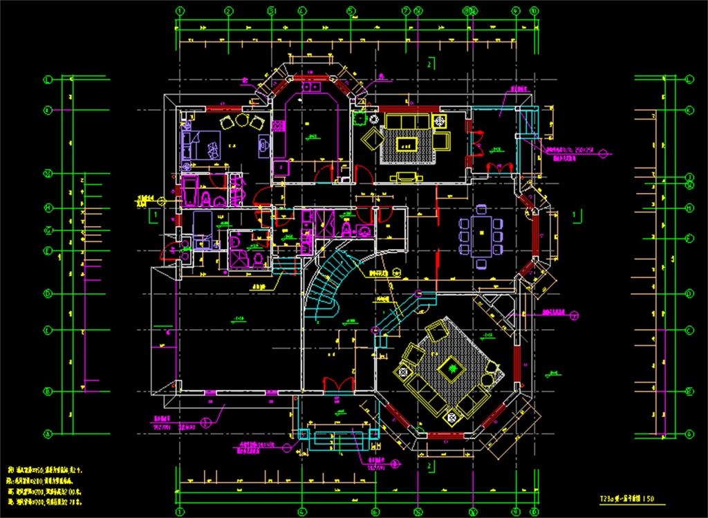 cad图库 室内设计cad图库 别墅cad图纸 > 钢结构别墅cad建筑图  版权