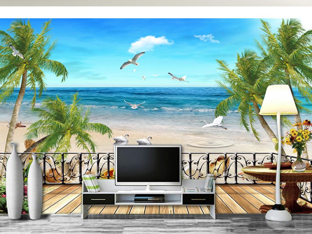 卡通椰树手绘墙画