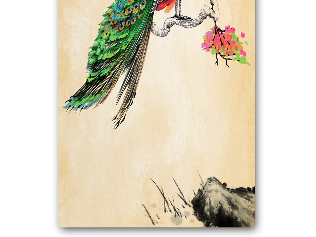 中式过道走廊玄关背景墙手绘丹凤朝阳装饰画