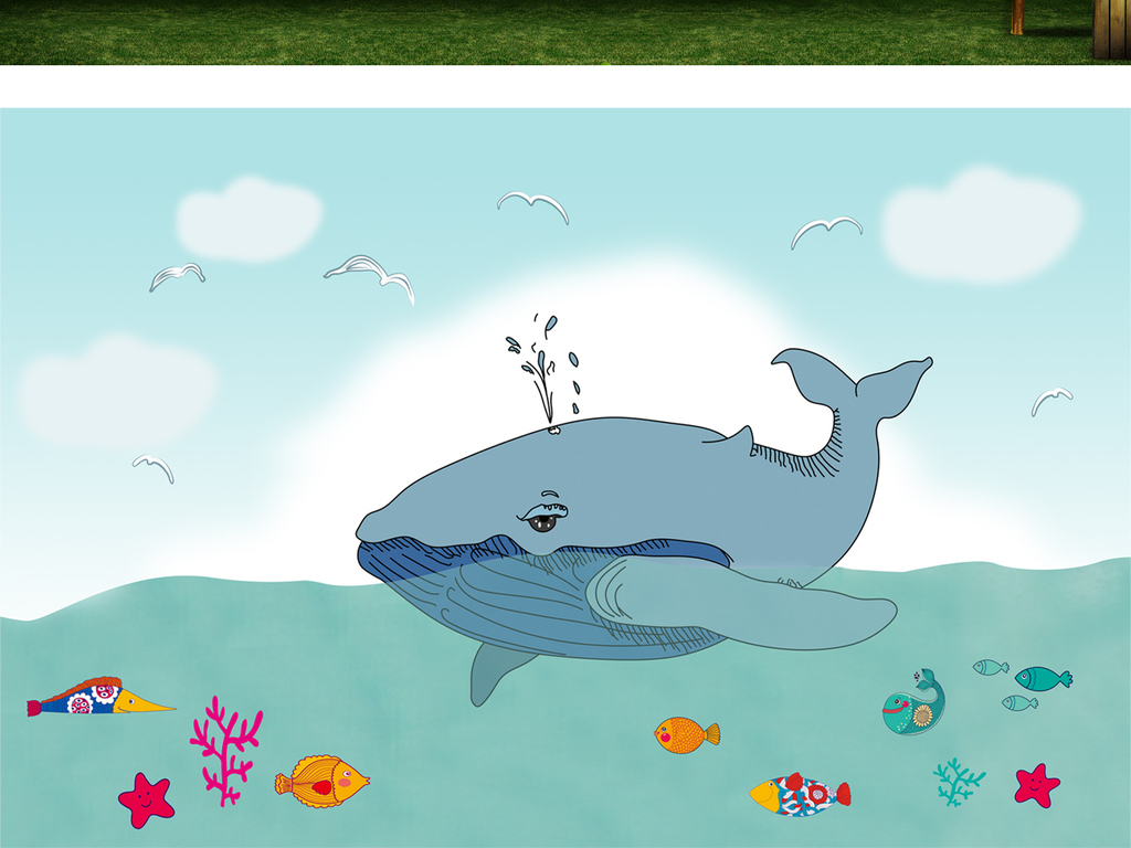 3d立体手绘鲸鱼海底世界背景墙