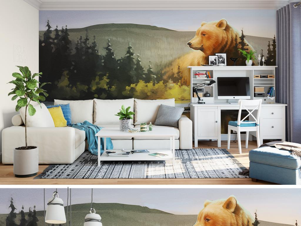 抽象树林古典熊动物世界卡通手绘儿童房背景墙