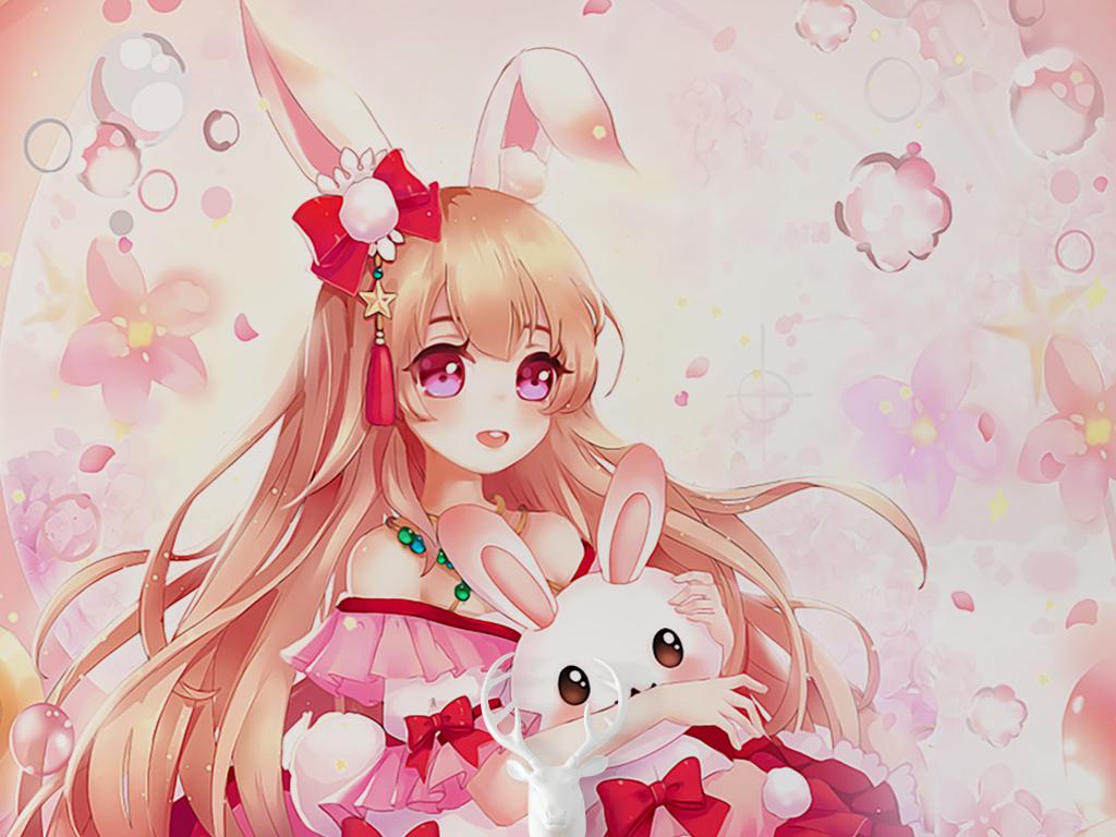 卡通手绘可爱动漫小女孩小白兔儿童房装饰画