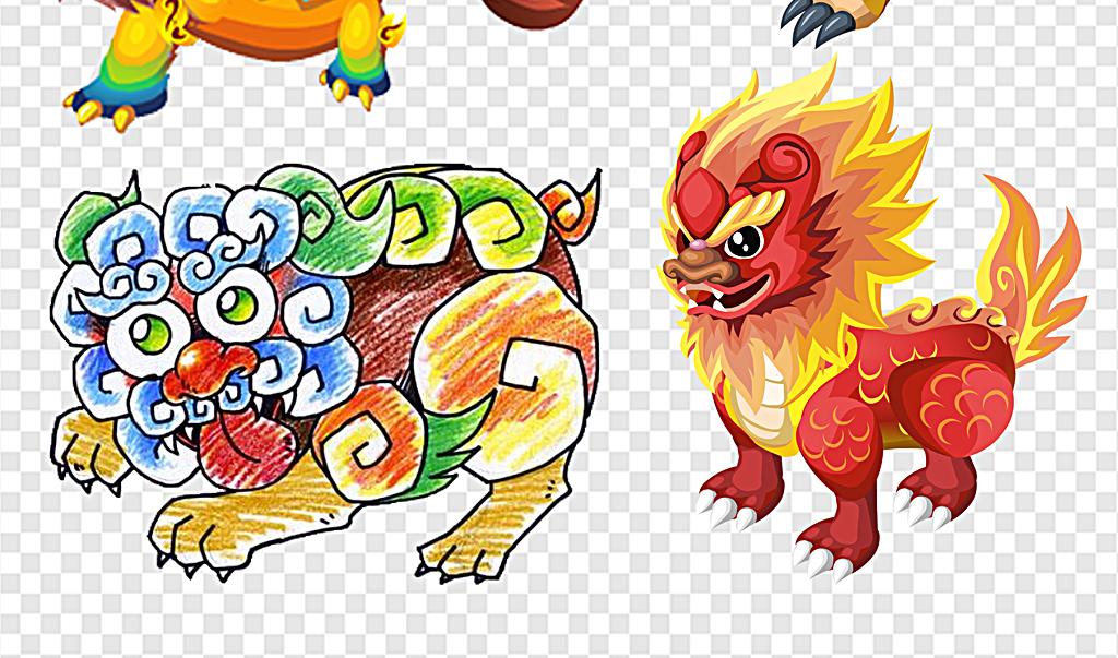 设计元素 其他 中国风素材 > 年兽卡通年兽打年兽年兽花纹手绘年兽