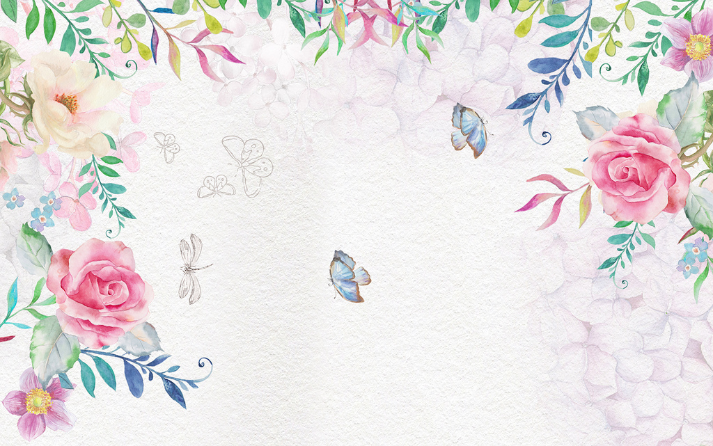 欧式手绘玫瑰花藤背景墙图片