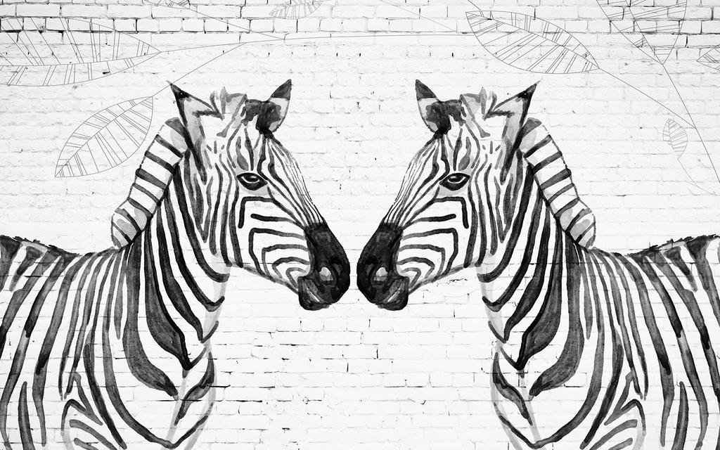 黑白                                  黑白背景斑马背景手绘风景