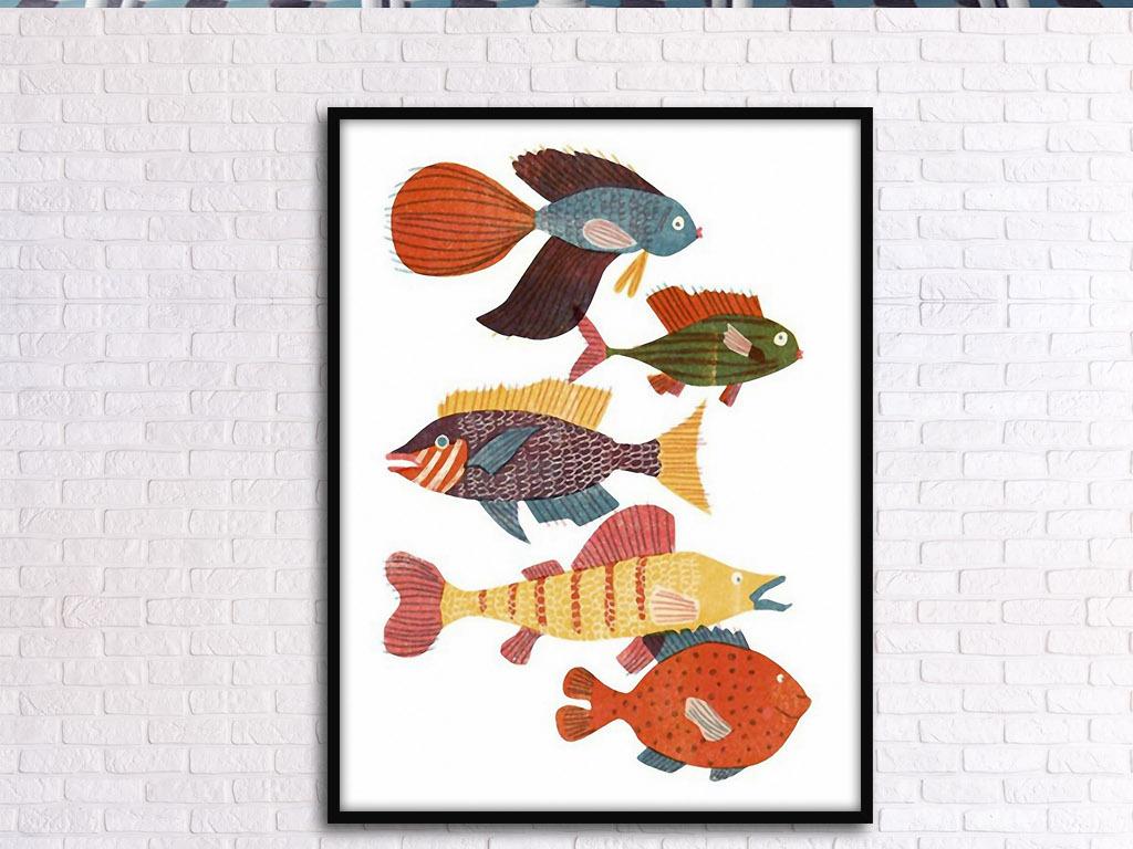 背景墙|装饰画 无框画 动物图案无框画 > 热带食人鱼淡水鱼类北欧手绘