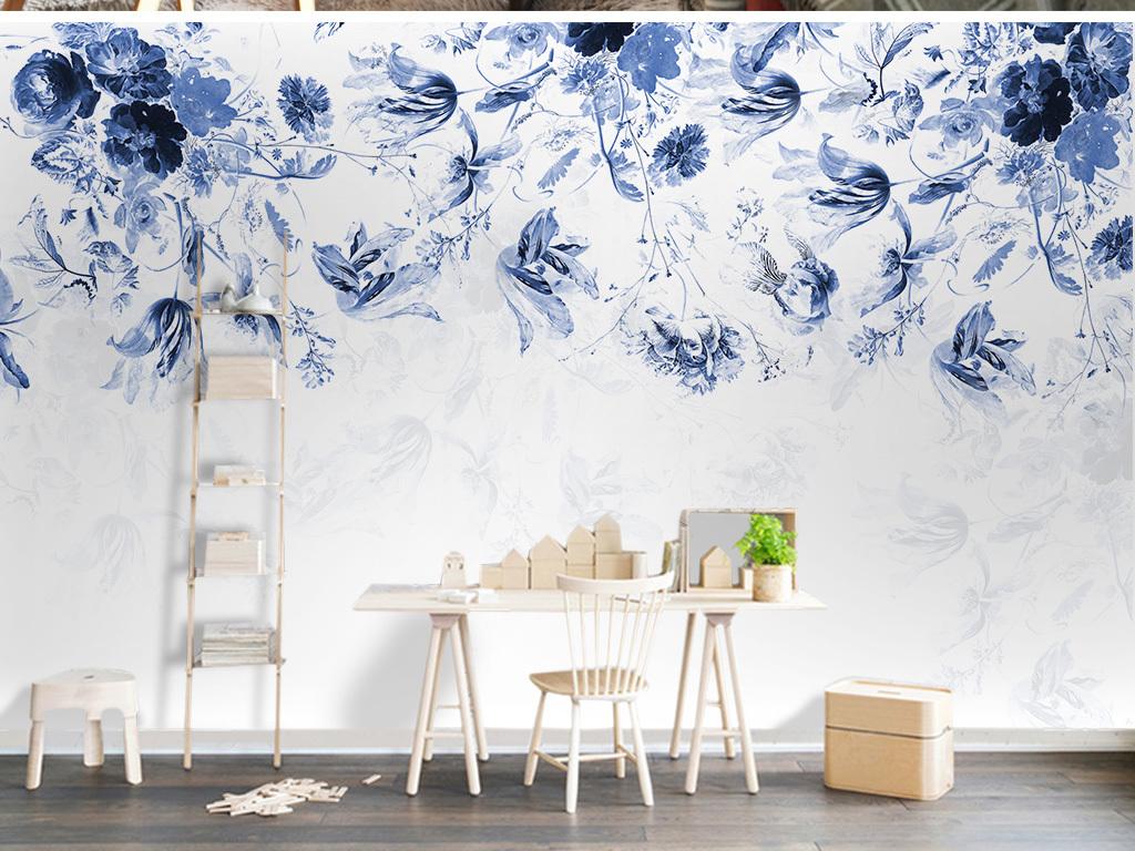 欧式复古手绘花卉背景墙