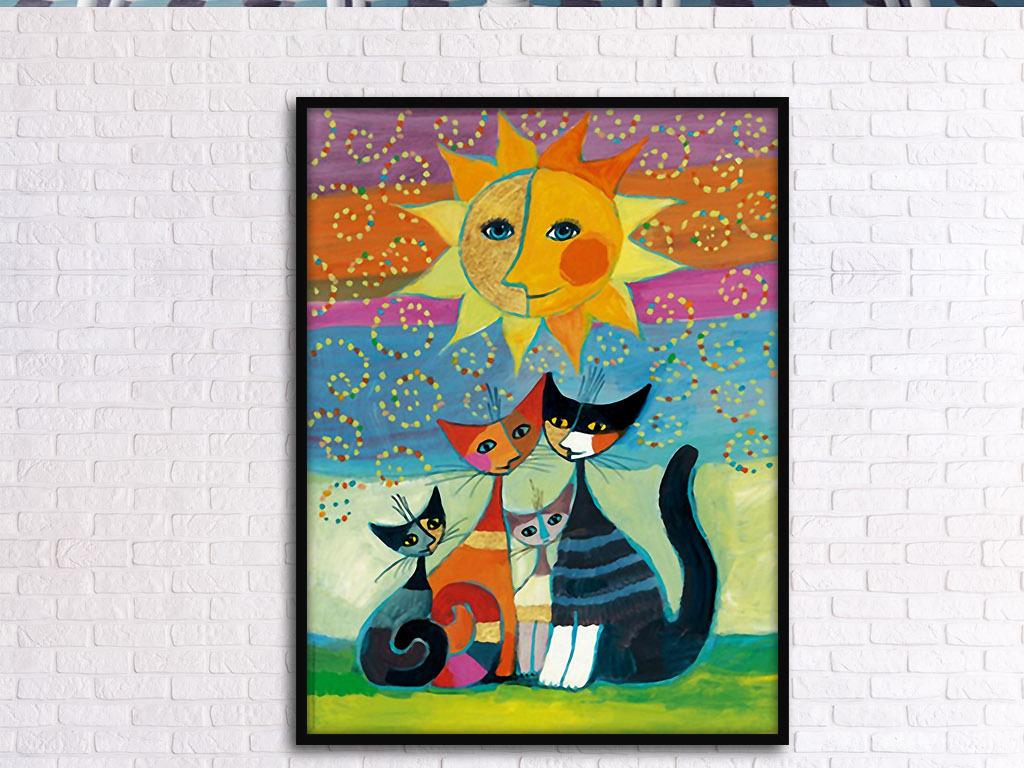 背景墙|装饰画 无框画 动物图案无框画 > 太阳照耀猫家族北欧复古艺术