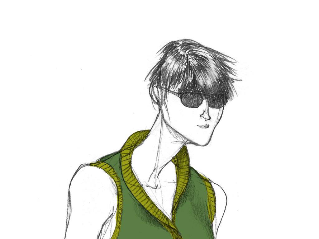 男装时尚手绘插画客厅装饰画素材工作室装饰图高清图