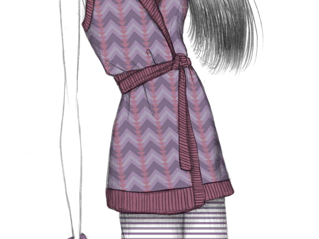 彩铅效果图手绘女装插画女装设计效果图装饰画印刷素材广告大片印刷
