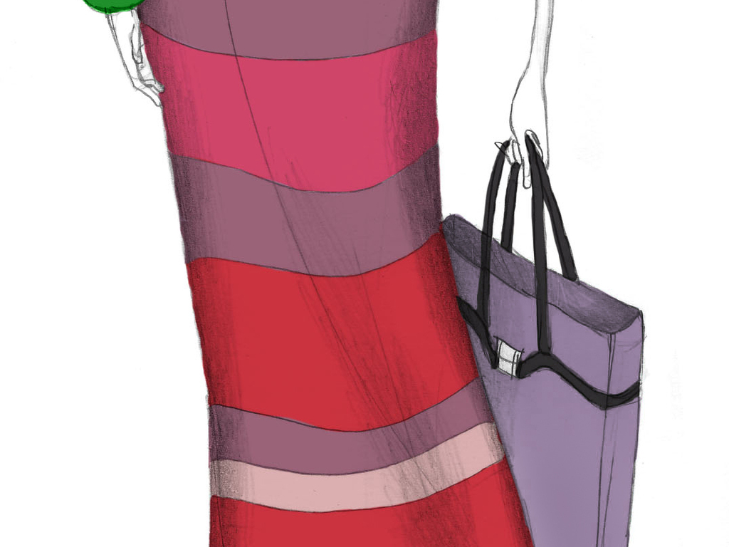 时尚高清印刷时装画手绘女装插画效果图