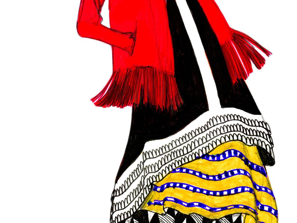 服装设计 服装手稿 其他手稿 > 发型设计时装效果图彩铅时尚高清女装
