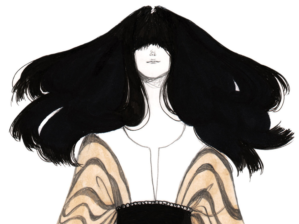 彩铅效果图手绘女装插画女装设计效果图装饰画印刷