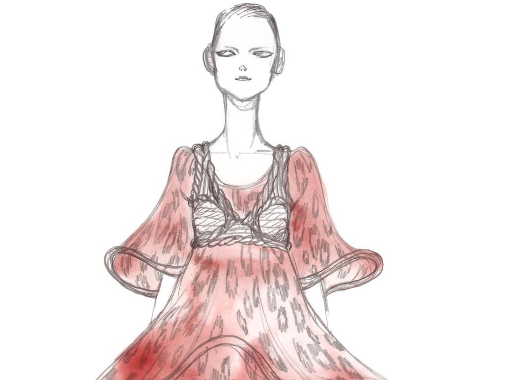 时装设计女装彩铅效果图手绘女装插画女装设计效果图装饰画印刷素材
