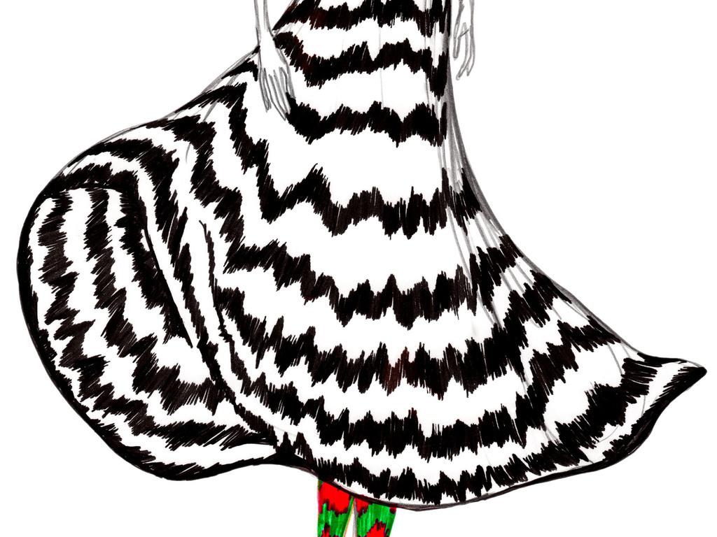 创意发型时装效果图高清彩铅人物插画