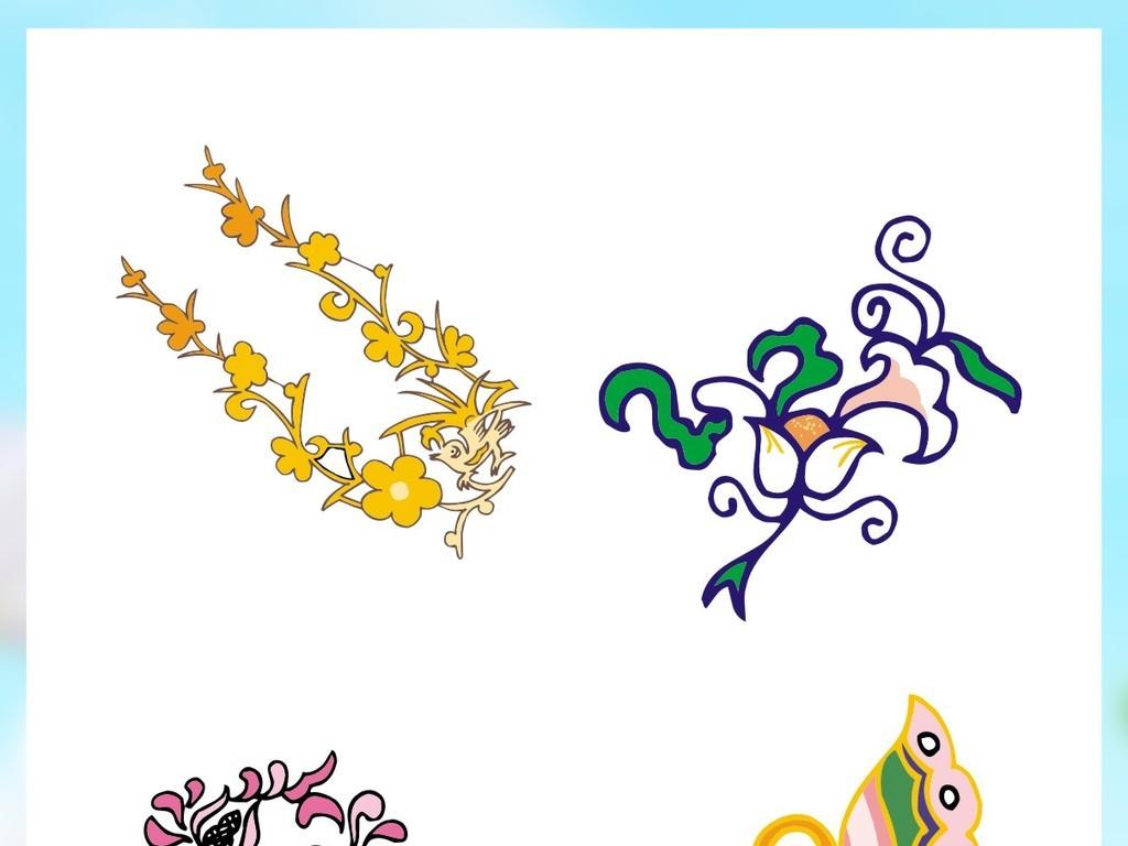 中式角花纹边框底纹失量素材雕刻装饰古典剪影