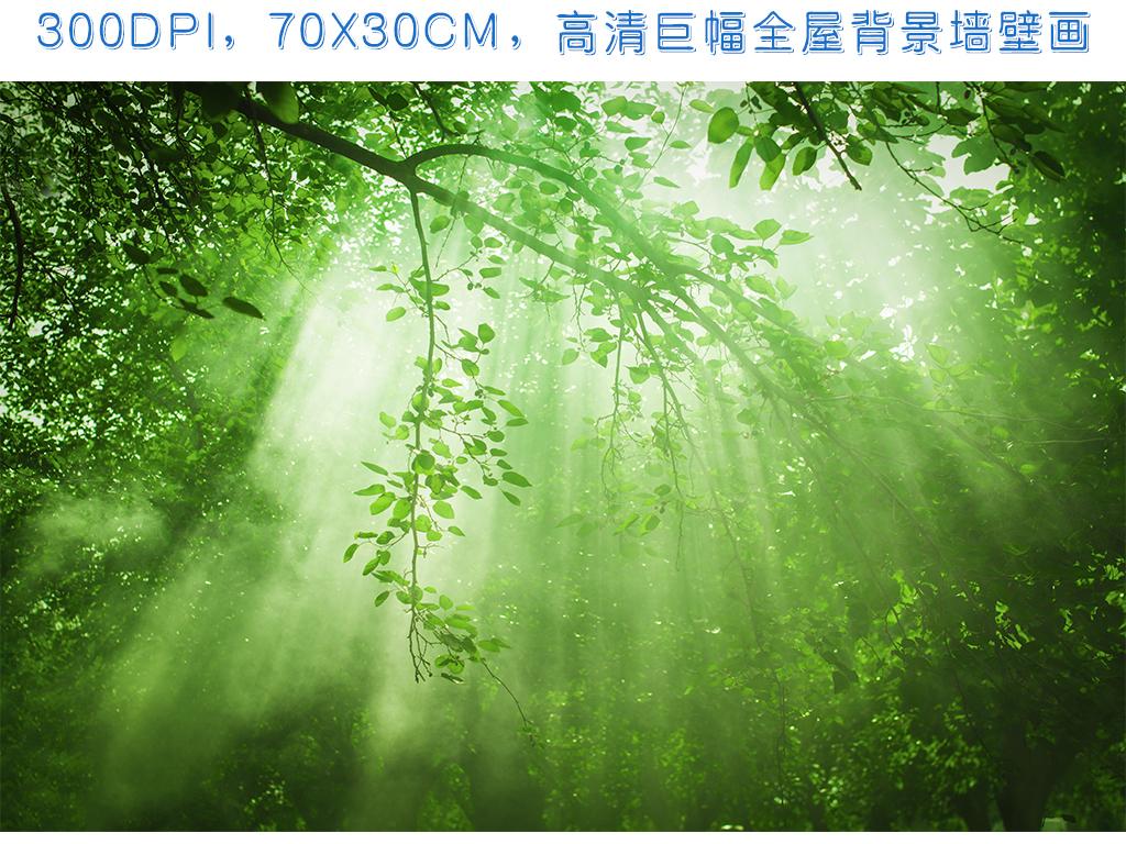 绿色阳光森林风景画逼真梅花鹿全屋壁纸