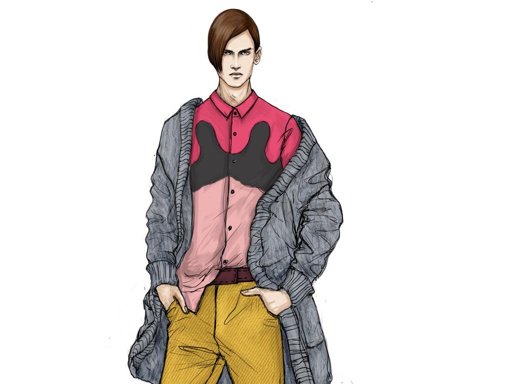 服装设计 服装手稿 其他手稿 > 创意休闲男装设计效果图时装画素材
