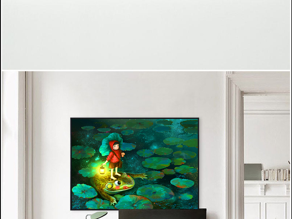 手绘卡通画荷塘中站在青蛙上的小女孩图片设计素材_(.