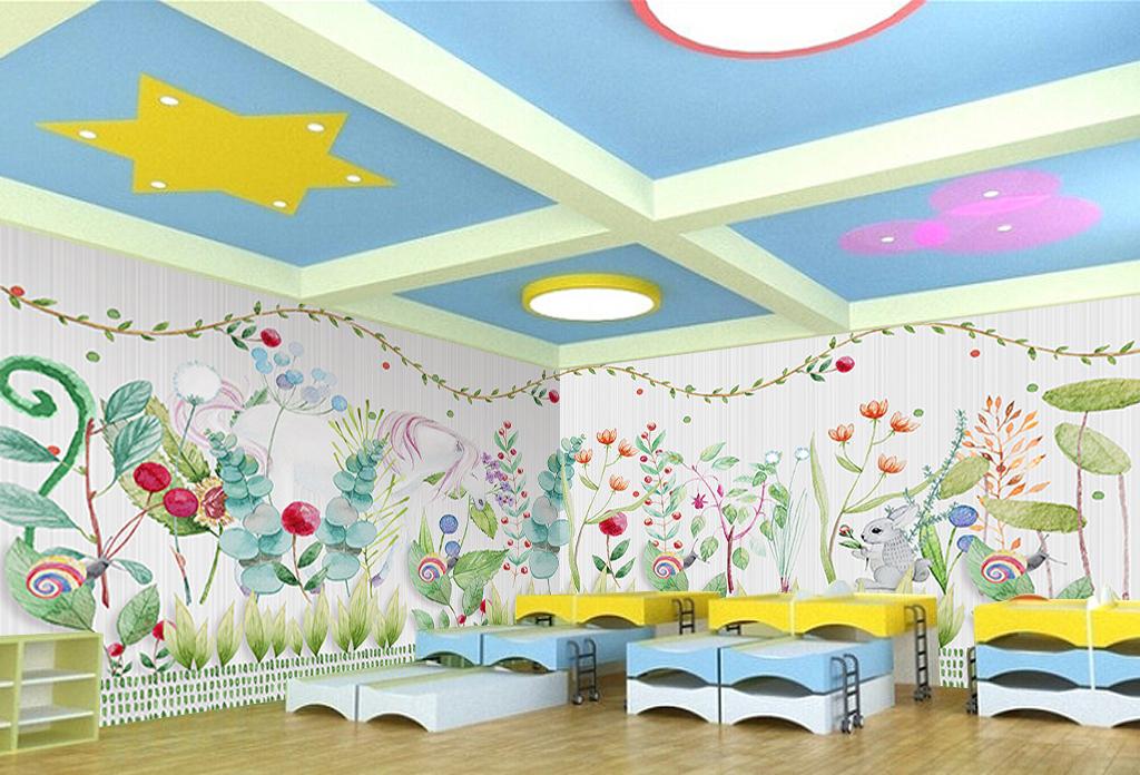 手绘水彩花草动物儿童房背景墙