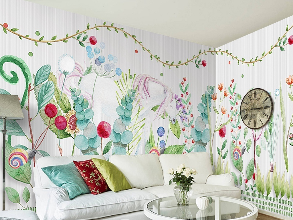 手绘水彩花草动物儿童房背景墙图片设计素材_高清psd