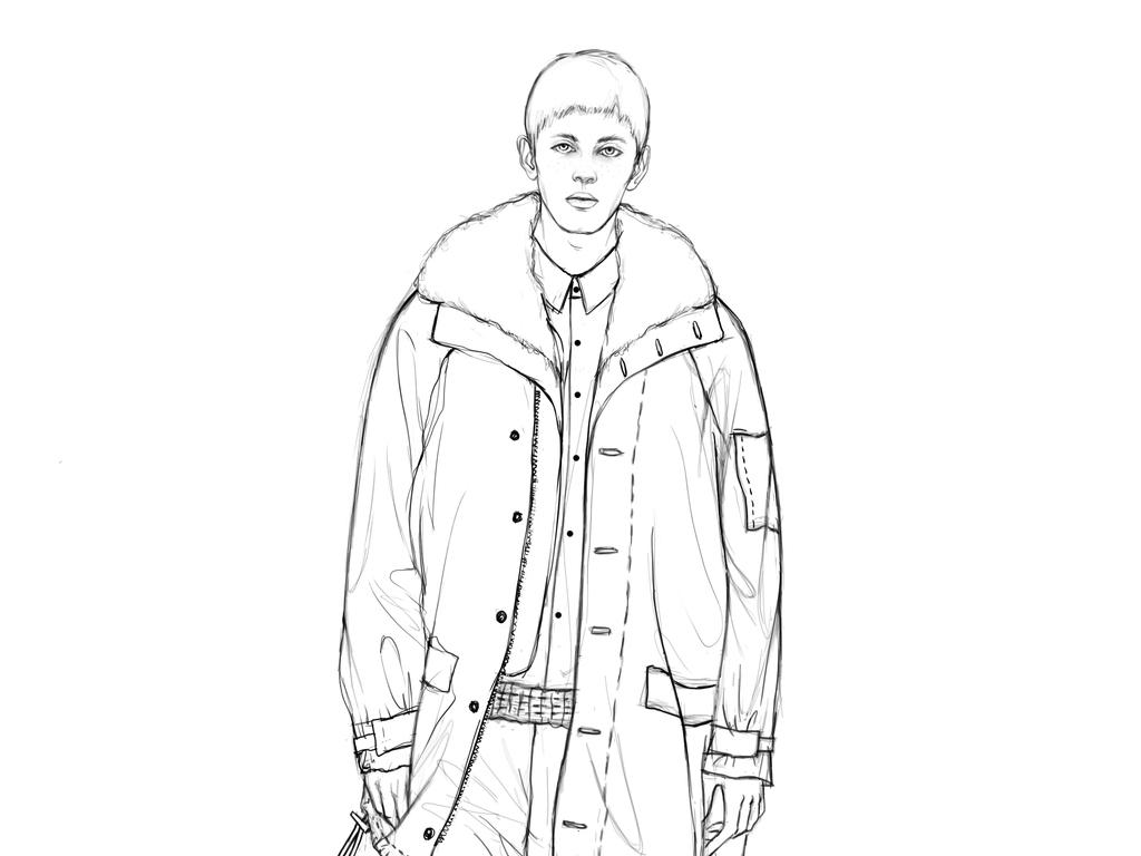 秋冬男装设计成衣手稿服装线稿手绘作品
