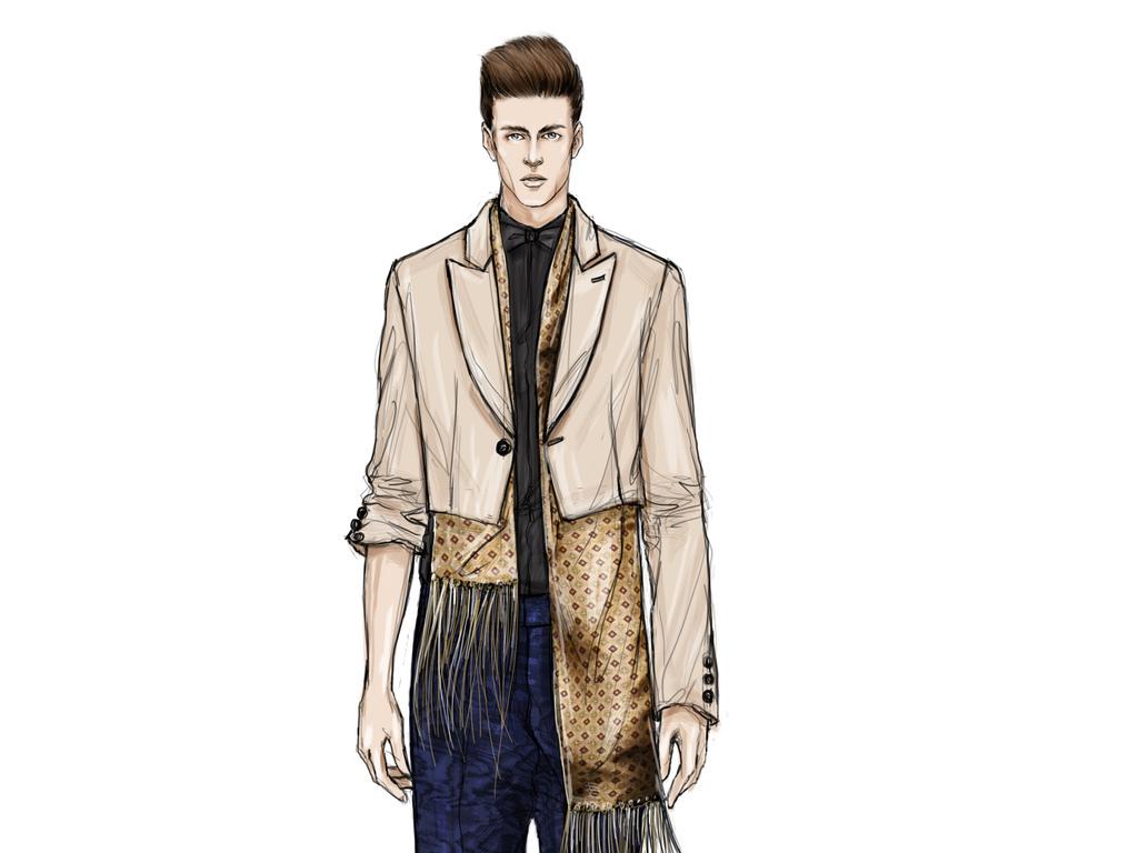 时装画男装作品集男装设计素材男装创意设计大大红灯笼手绘大花手绘大
