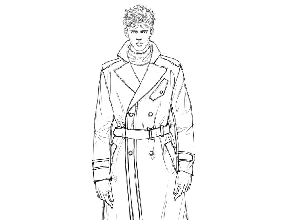 男装大衣设计手稿服装线稿高清时装绘画作品