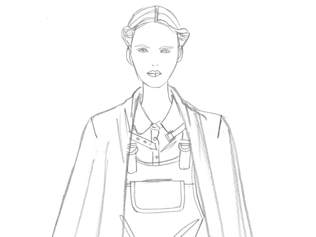 国际大牌女装线稿设计师手稿高清素材图片