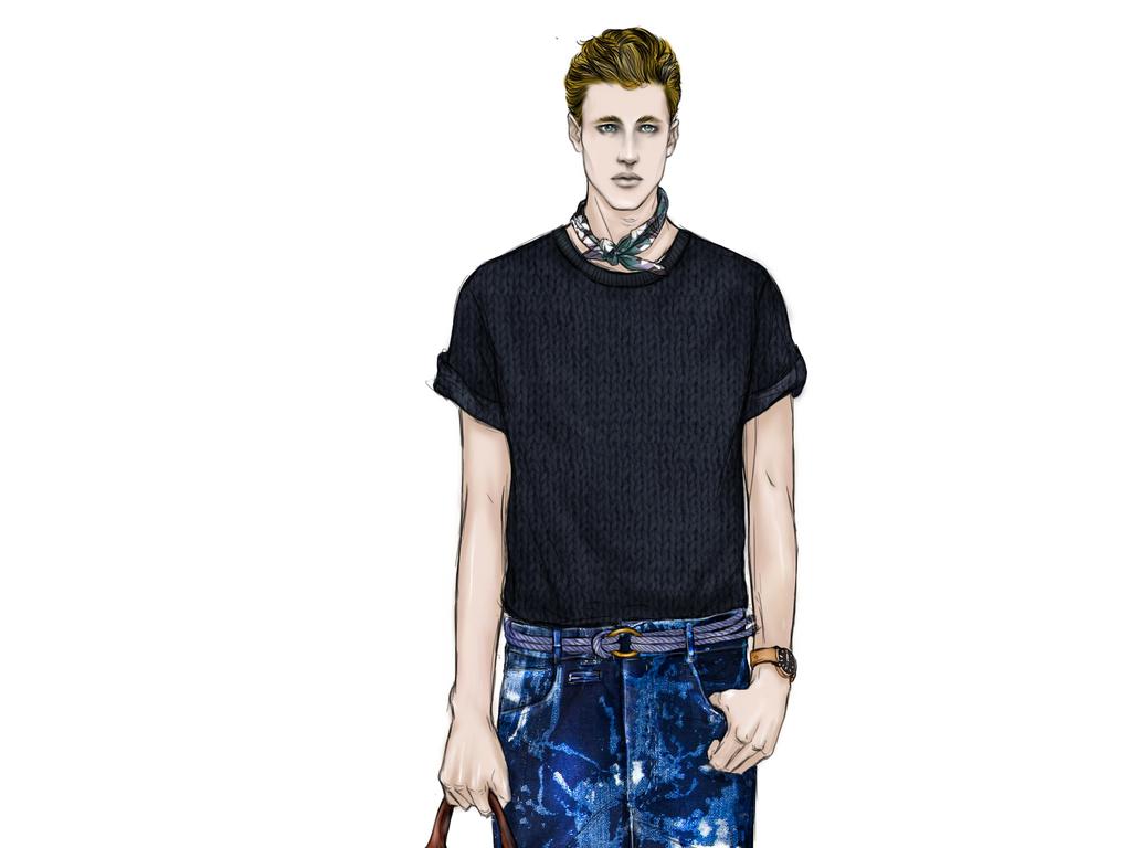 服装效果图手绘图男装