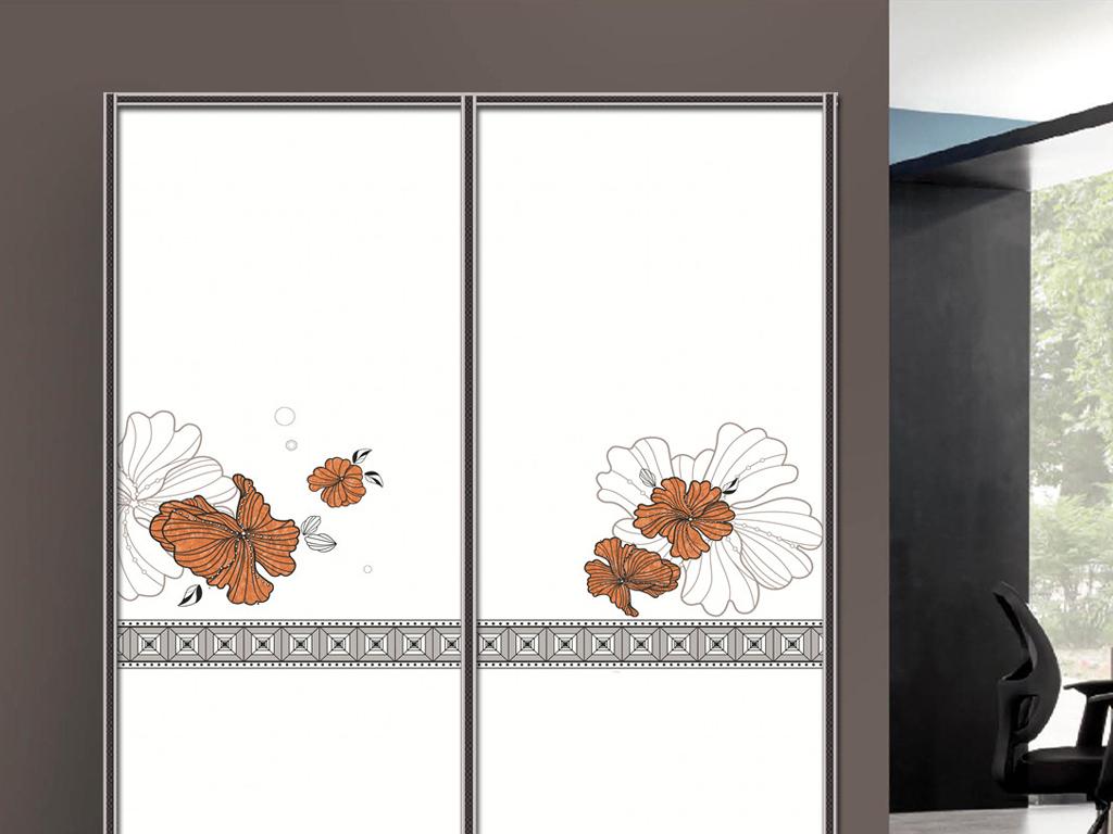 UV打印手绘花衣柜移门图片背景衣柜门柜子