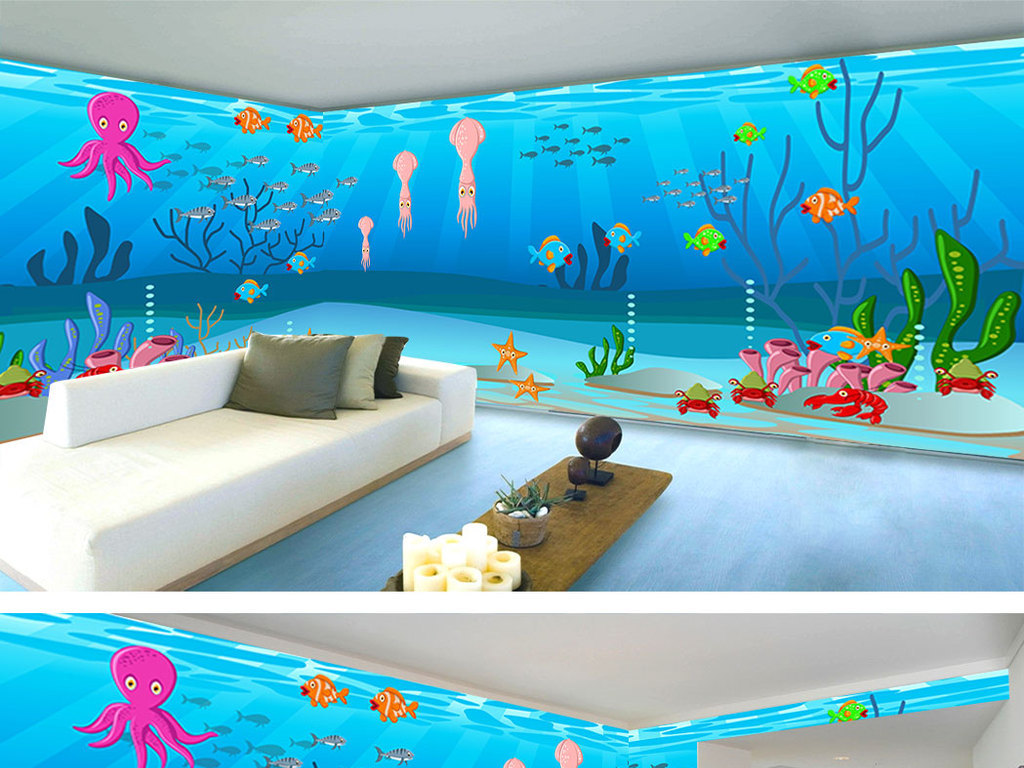 海底世界卡通儿童房全屋背景墙
