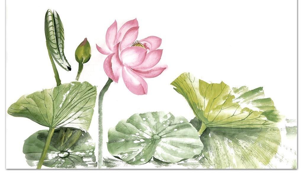 手绘水彩浪漫粉色荷花简约绿色电视背景墙