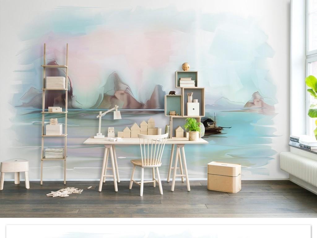 手绘彩色山水小船时尚简约北欧风电视背景墙