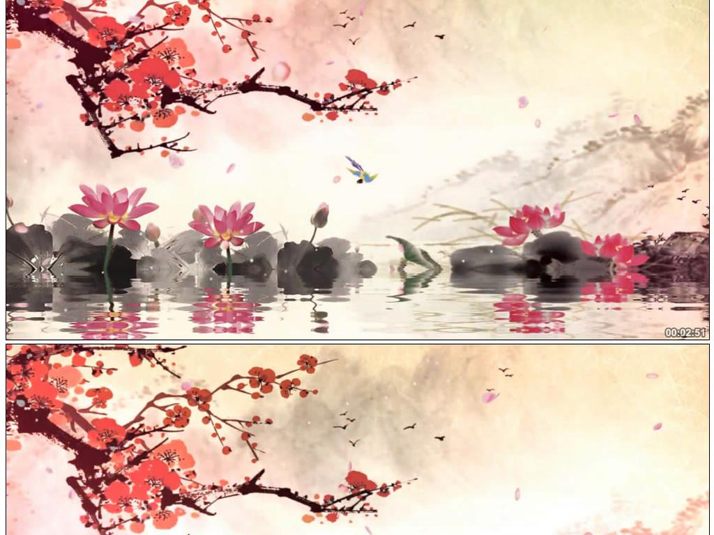 古筝琵琶语梅花中国风水墨视频素材