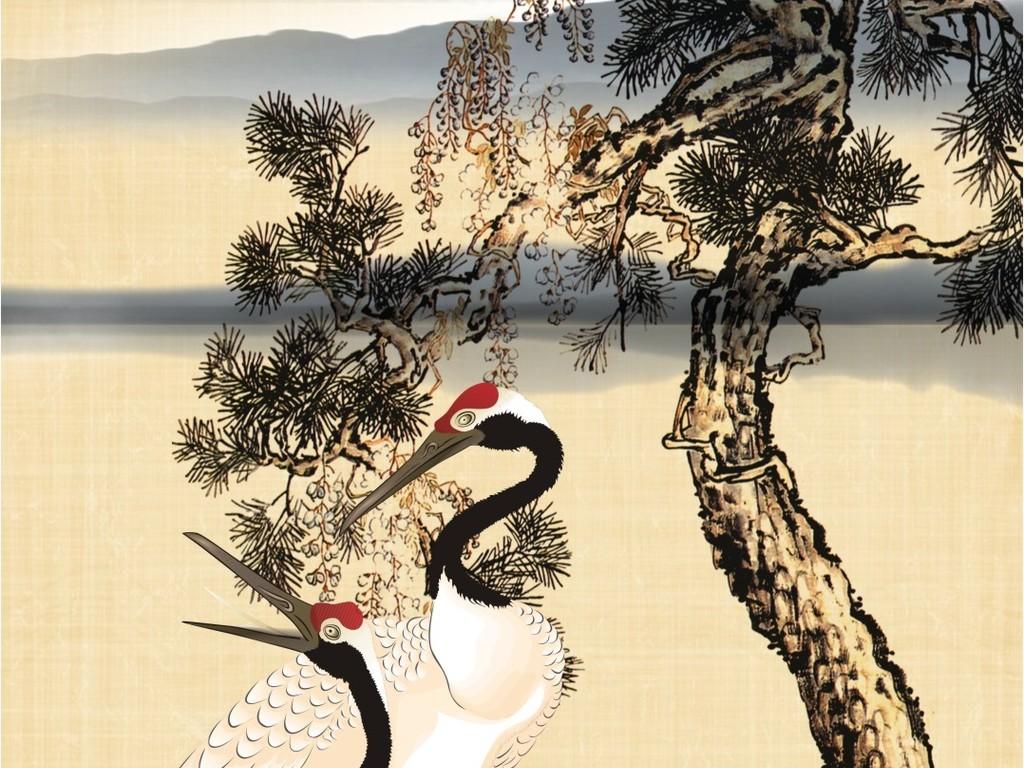 中式仙鹤山水松树水墨画玄关背景装饰画图片