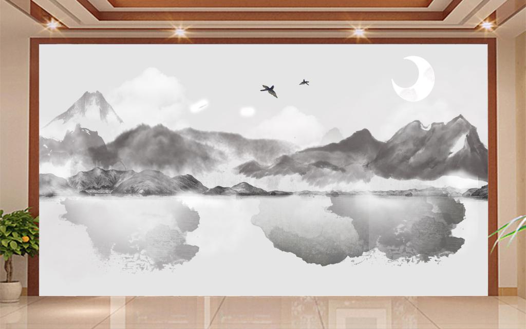 新中式水墨山水背景墙(图片编号:16072586)_ 水墨画图片