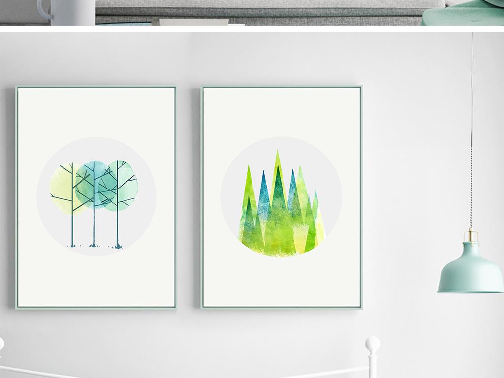 北欧简约水彩森林无框装饰画