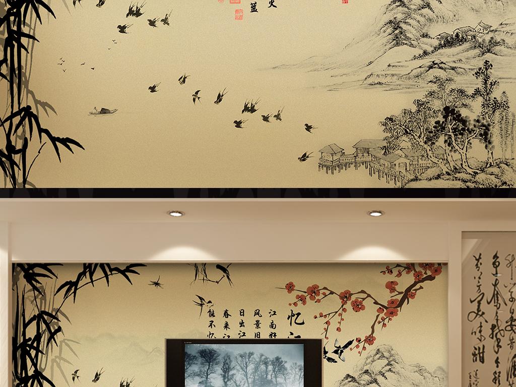 玻璃电视背景墙中式背景墙手绘背景墙玉雕背景墙电视背景墙壁画玄关