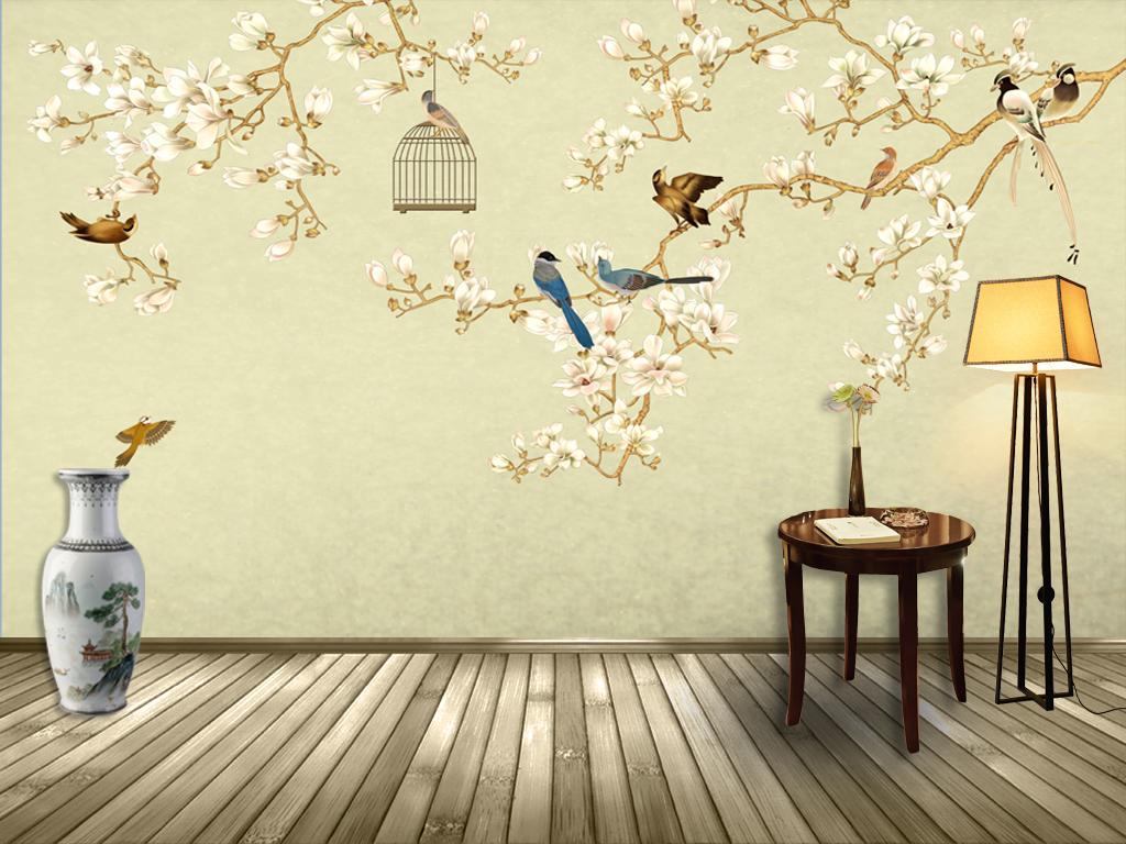 背景墙|装饰画 电视背景墙 手绘电视背景墙 > 中式简洁工笔花鸟玉兰花
