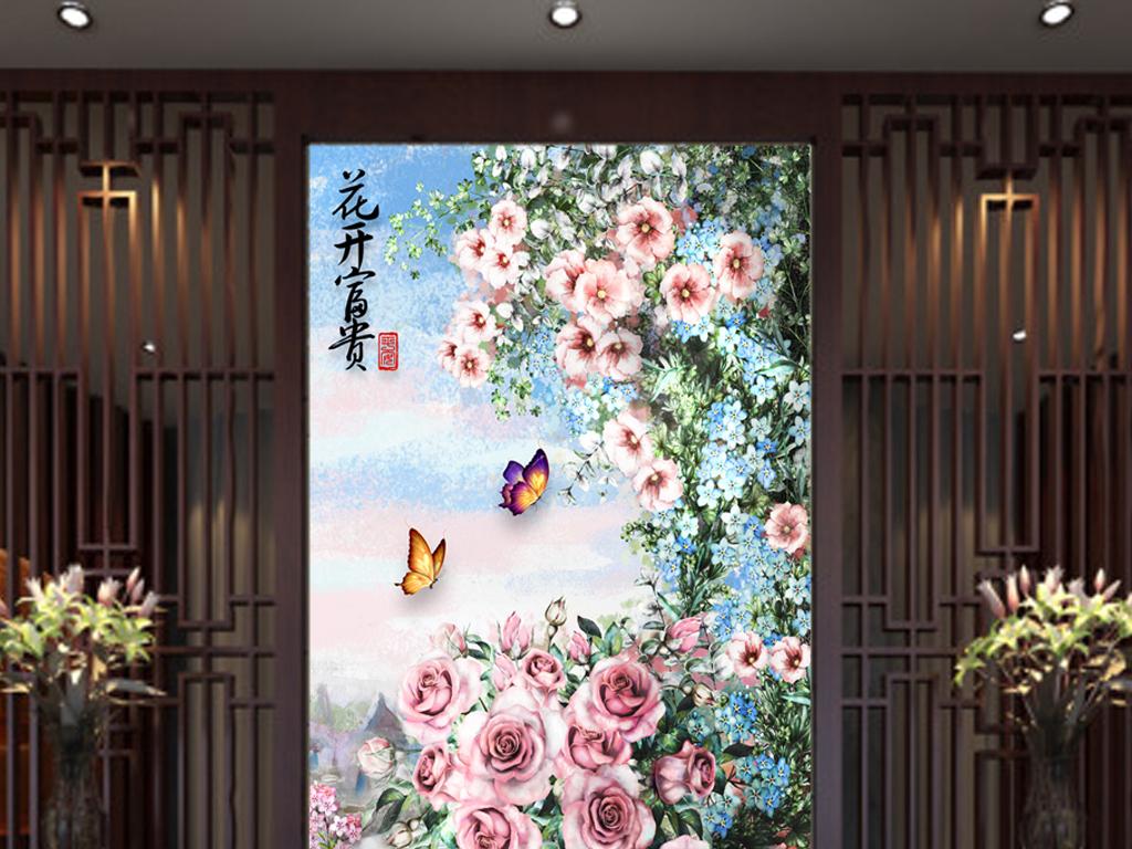 客厅过道走廊欧式手绘玄关背景墙花卉壁画