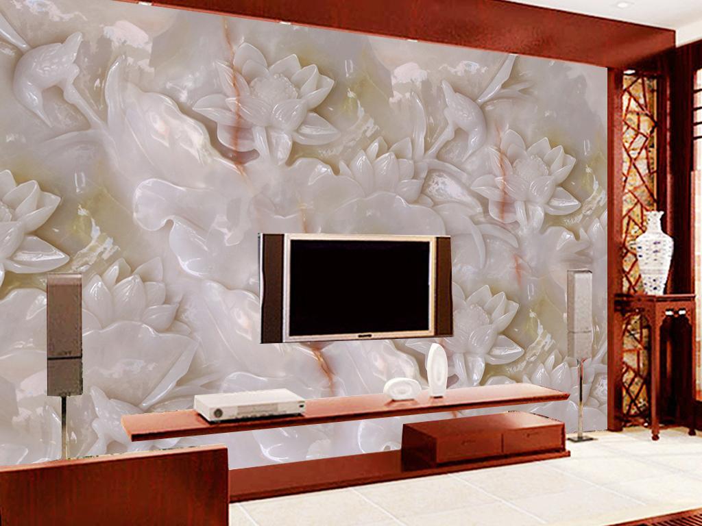 3d白玉雕牡丹花开富贵电视背景墙