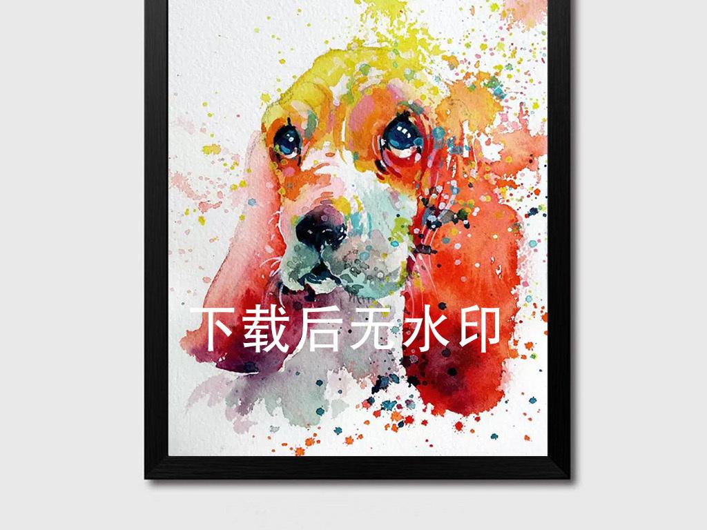 纯手绘彩画泼墨动物挂画背景