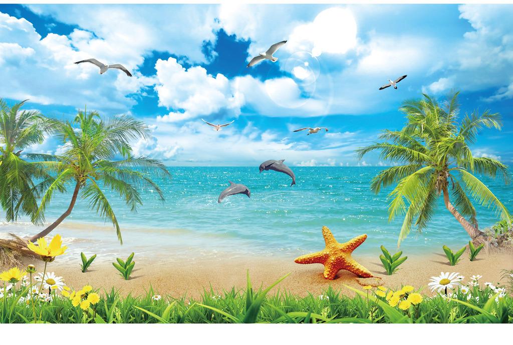 海鸥椰子树棕榈树大海自然风光浪漫欧式地中海夏威夷电视背景风景画