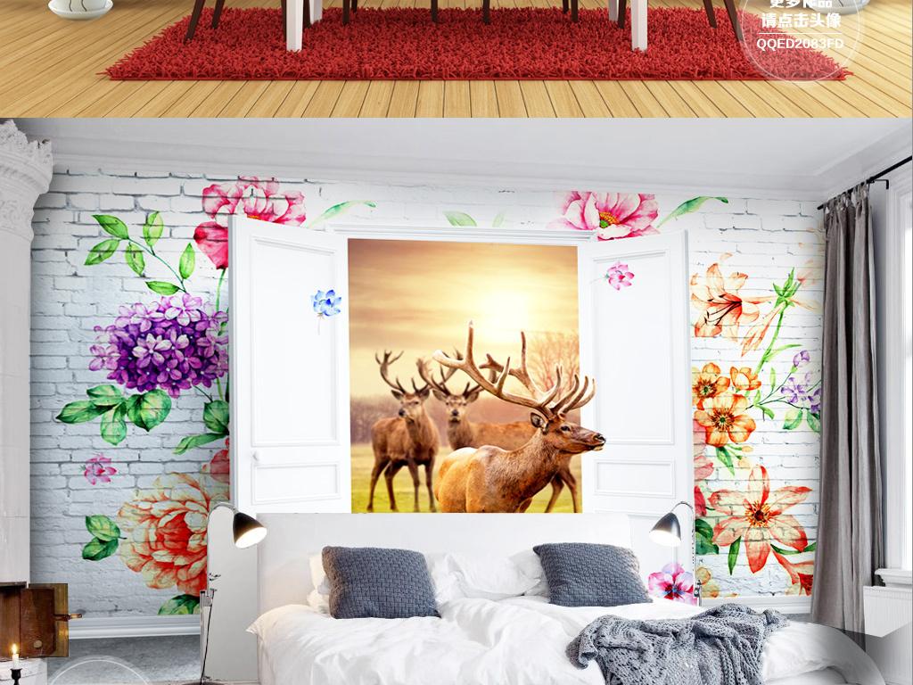 手绘背景3d背景森林背景电视立体立体背景北欧简约北欧风景北欧风情