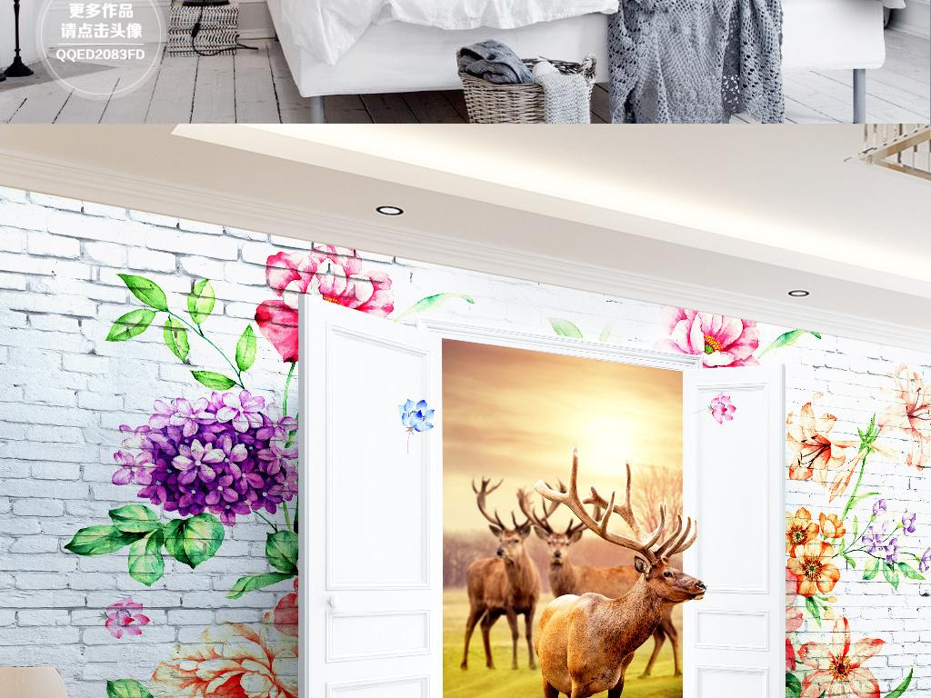 3d立体背景墙手绘花森林麋鹿电视背景墙