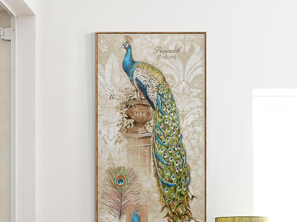 欧式怀旧画孔雀花瓶彩绘动物花纹无框装饰画